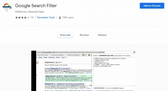 Google Search Filter