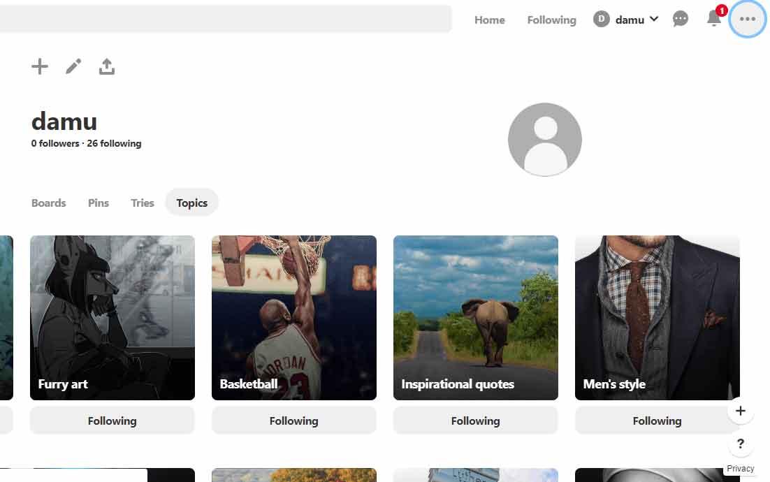 Profile page - Pinterest