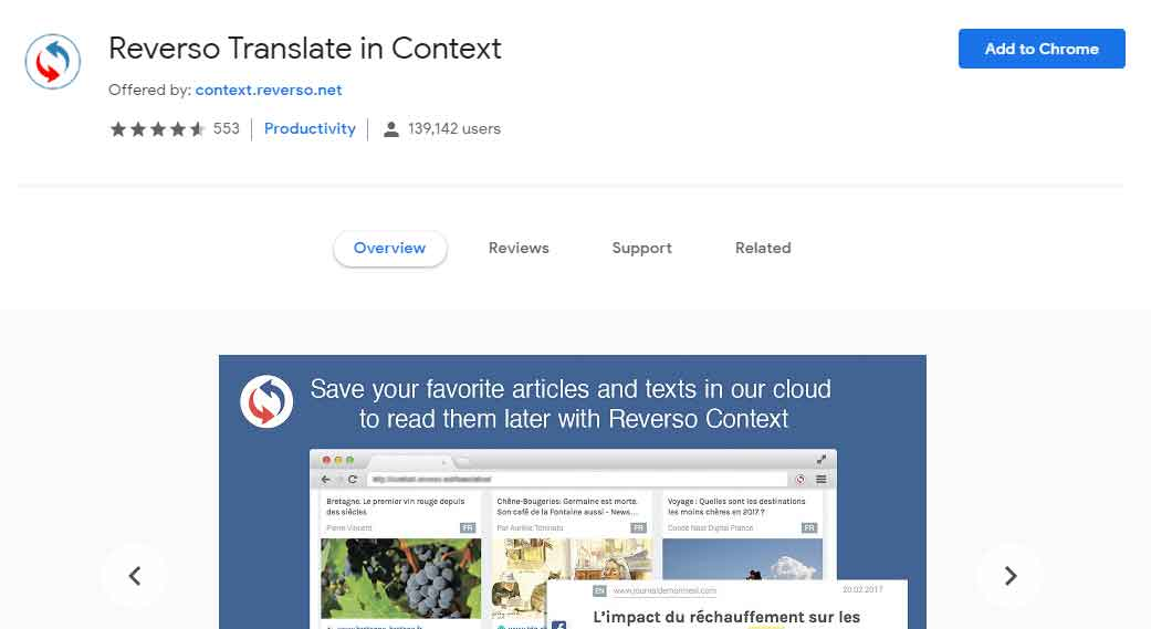 Reverso Translate The Context -  Best Google Chrome Extensions For Searching