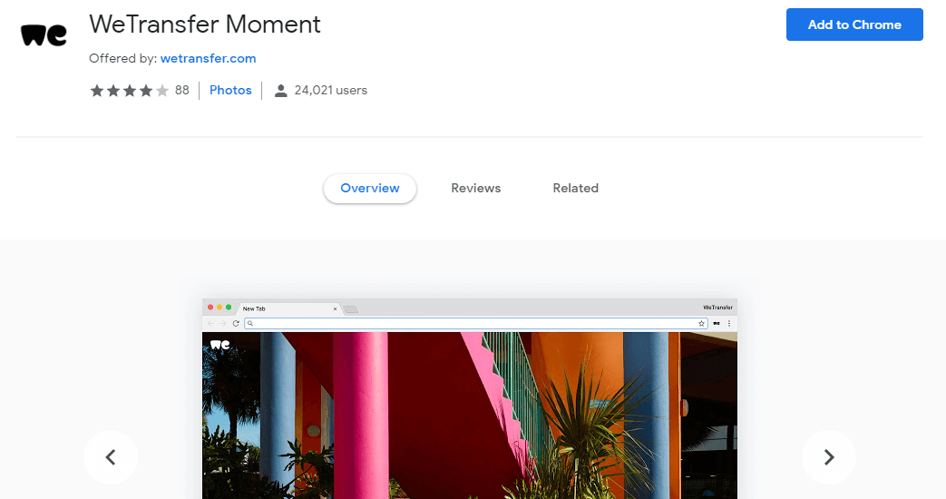 WeTransfer Moment -best Google Chrome extensions for creatives